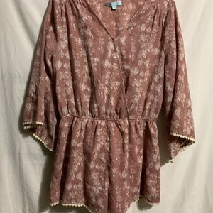 Large She + Sky Pink Romper Floral 3/4 Bell Sleeve